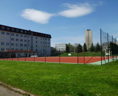 Součástí areálu školy je hříště s umělou trávou o rozměrech 43 x 23m a polytanové hříště vhodné na kolektivní sporty. V odpoledních hodinách je sportoviště k dispozici studentům ubytovaným v domově mládeže nebo je pronajímáno široké veřejnosti.